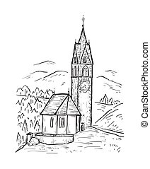 Santa Barbara chapel in the village of La Valle, Alta Badia. Italy, Europe. South Tyrol. Sketch hand drawn vector illustration with church on the mountain. Black line isolated on white