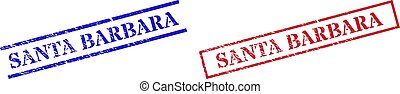 SANTA BARBARA Grunge Scratched Stamp Watermarks with Rectangle Frame