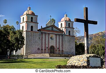 Santa Barbara Mission and cross - front of Santa Barbara...