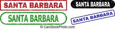 SANTA BARBARA Rectangle Stamp Seals with Grunge Texture