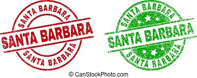 Round SANTA BARBARA stamp badges. Flat vector distress badges with SANTA BARBARA title inside circle and lines, in red and green colors. Rubber imitations with grunge style.