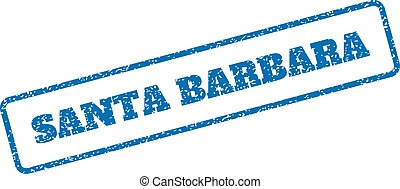 Blue rubber seal stamp with Santa Barbara text. Vector caption inside rounded rectangular shape. Grunge design and scratched texture for watermark labels. Inclined sticker on a white background.