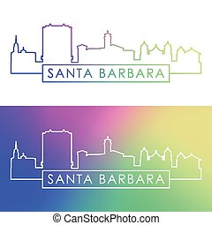 Santa Barbara skyline. Colorful linear style. Editable vector file.