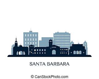 Santa Barbara skyline, monochrome silhouette. Vector illustration.