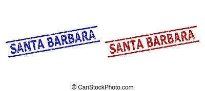 Blue and red SANTA BARBARA stamps on a white background. Flat vector distress watermarks with SANTA BARBARA text between two parallel lines. Watermarks with distress surface.