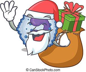 Santa basophil cell Cartoon character design having box of ...