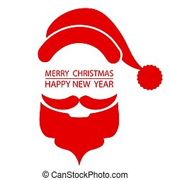 santa beard and hat on christmas greetings card red white isolated background