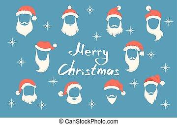 Santa beards set.