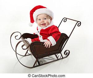 santa, bebê senta-se, em, um, sleigh