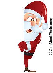 Santa behind blank board