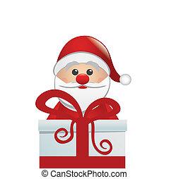 santa behind gift box white isolated background