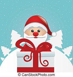 santa behind gift box white winter
