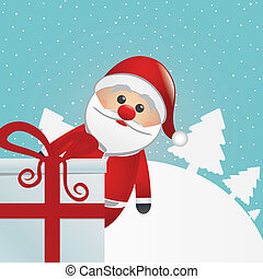 santa behind gift white winter landscape