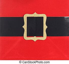 Santa belt buckle - Close up of Santa's belt buckle.