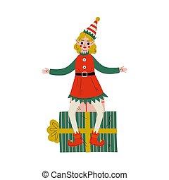 santa, benefattore, carino, claus, elfo, carattere, seduta, regalo, illustrazione, scatola, vettore, natale, ragazza