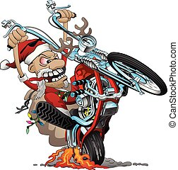 Funny Biker Santa popping a wheelie on a classic American style chopper motorcycle, big smile, lots of chrome, ape hangar handle bars, and big grin. Awesome detailed full color vector cartoon illustration.
