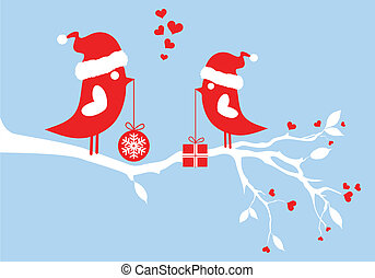 santa birds, vector - santa birds on winter tree, vector...