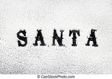Santa black name in the snow