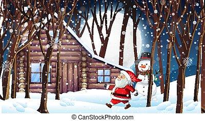 santa, bonhomme de neige, scène, neigeux, nuit