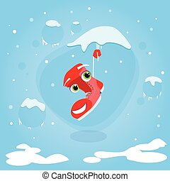 Santa Boots Hang on Icicle Cartoon Christmas Character Smile Face Concept Blue Snow Background Flat Vector Illustratio