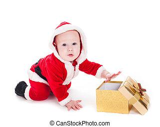 Santa boy with box