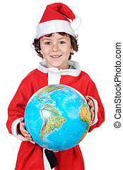 Santa boy with globe