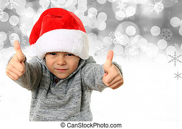 Santa boy with thumbs up. - Five year old boy wearing a ...