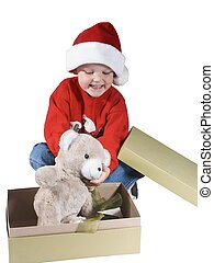 santa boy#3 - child opening a present and happy