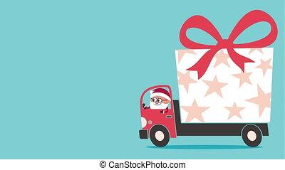 Santa bringing gift with truck. Looping cartoon.