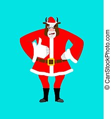 Santa bull thumbs up well and winks. Sign all right. Merry Christmas cow. Hand showing ok. Gesture of hand. Good farm animal in red suit. Illustration for new year