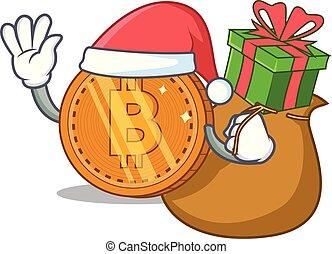 santa, cadeau, dessin animé, monnaie, bitcoin, caractère