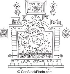 Santa came down the chimney - Black and white vector...