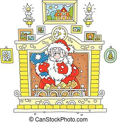 Santa came down the chimney - Vector illustration of Father...