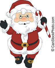 Santa Candy Cane - Illustration of Santa Claus Holding a ...