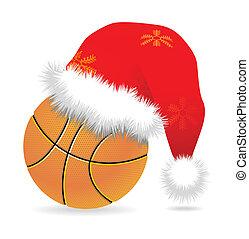 Santa cap over basketball vector illustration