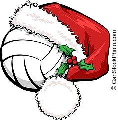 Santa Cap Volleyball - A volleyball wearing asanta cap to ...