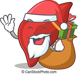 santa, caricatura, presente, fígado, desenho, natal saudável...
