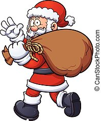 Santa carrying a bag - Santa Claus carrying a big bag....