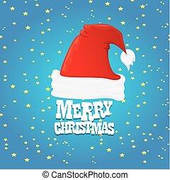 santa, cartão, feliz, chapéu, natal, vermelho, vector.