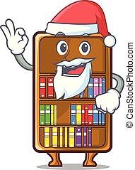 Santa cartoon bookcase in the study room