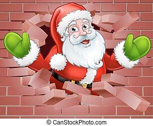 Santa Cartoon Breaking Through a Wall Background