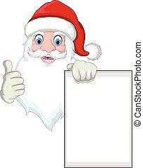Santa cartoon holding blank sign