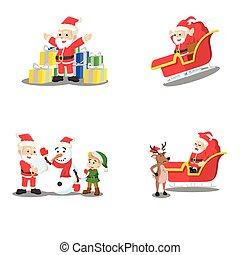 santa cartoon set illustration design