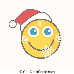 Santa - Cartoon Smiley Vector Face