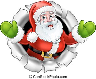 Santa Cartoon Tearing Through a Background