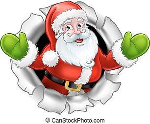 Santa Cartoon Tearing Through a Background