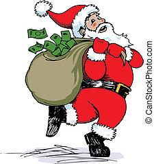 Santa Cash - Santa Claus delivering a sack full of money