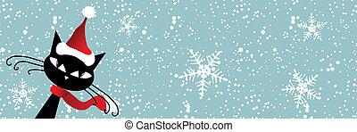 Santa cat. Christmas card