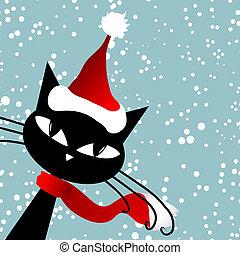 Santa cat. Christmas card.