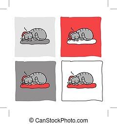 Santa cat sleeping, sketch for your design